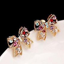 Women Stud Earrings Love Luxury Cute Style Rhinestone Alloy Bowknot - 1x Random image 2