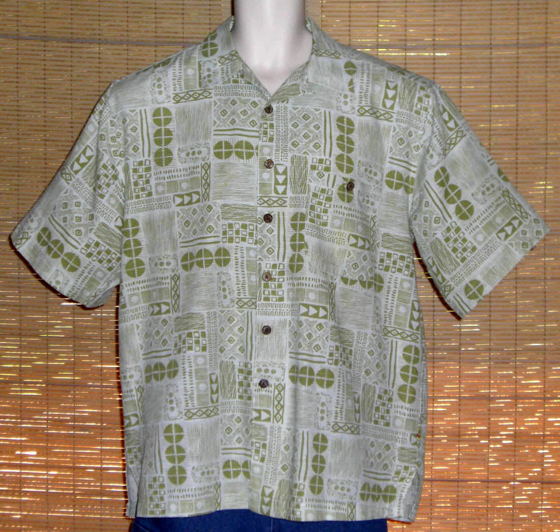 Primary image for Joe Marlin Hawaiian Shirt Olive Green Tropical Design Blocks Size Large LN