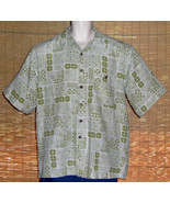 Joe Marlin Hawaiian Shirt Olive Green Tropical Design Blocks Size Large LN - $24.99