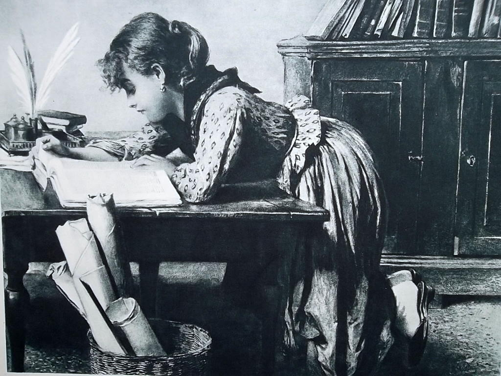 ITALIAN GIRL Deep in Her Book Writing Desk - 1888 Antique Print after Passini