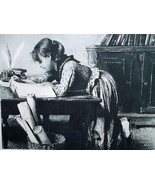 ITALIAN GIRL Deep in Her Book Writing Desk - 1888 Antique Print after Pa... - $22.49