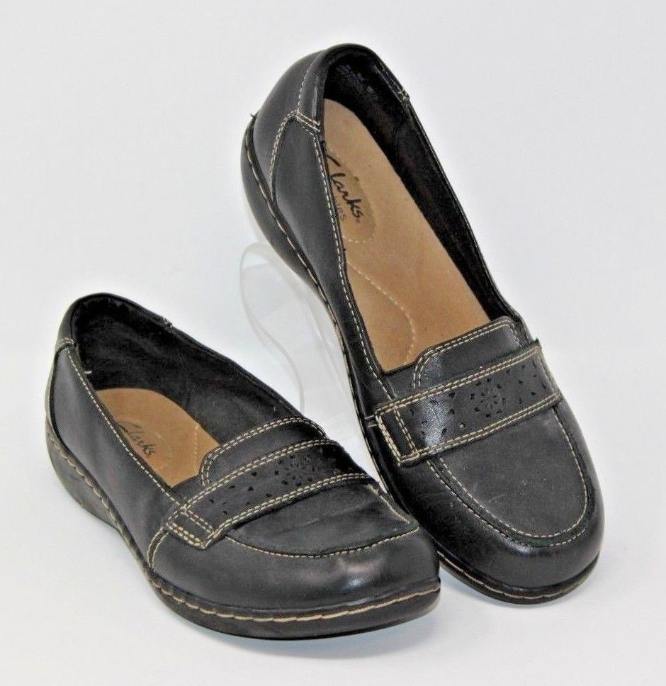 Clarks Size 8M Bendables Black Flats Loafers Casual Shoes 65417 Leather Women