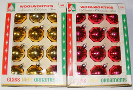2 Boxes Vintage Glass Ornaments - Woolworth's - $12.00