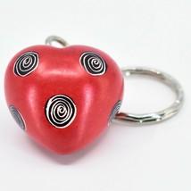 Tabaka Chigware Hand Carved Kisii Soapstone Red 3D Heart Keyring Keychain image 2