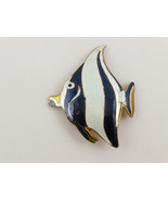 Black White Striped Enamel Longfin BANNERFISH in Yellow Gold Vermeil Pin - $48.50