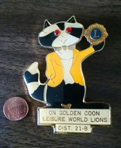 Lare Lions club, on golden coon pin (dist. 21-B) - $5.99