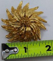 Gold Tone Flower Brooch Vintage  image 4