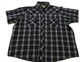 Wrangler Western Fashion Snap Shirt 3XL Blue Green Pearl Snaps Silver Th... - $17.82