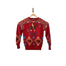 VINTAGE Polo Country Ralph Lauren Mens Hand Knit Indian Horse Aztec Swea... - $193.24