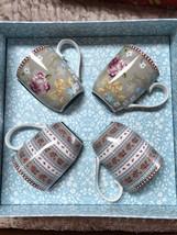 Pip Studio Home Floral Collection Gift Box 4 Pc Khaki Small 5oz Coffee Tea Mugs - $48.15
