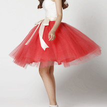 White Pink Tutu Tulle Skirt Puffy 4 Layered Party Full Circle Tulle Skirt Knee  image 13
