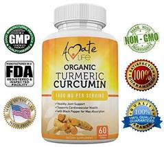 Organic Turmeric Curcumin Supplement-Joint Pain Support-Heart Health- Ma... - $16.28