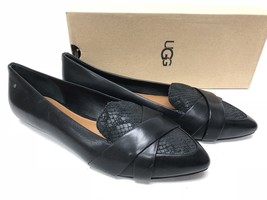 UGG Alexa Crisscrossing Straps Black Suede Leather Flats Women's 1015232... - $69.99