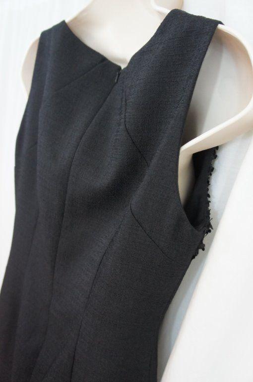 Anne Klein Dress Sz 4 Solid Black Confetti Sleeveless Career Cocktail Sheath