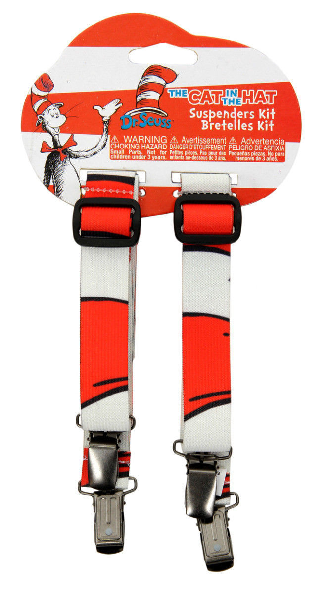 Dr. Seuss The Cat In The Hat Striped Suspenders Costume Accessory NEW SEALED