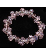 "Pink Rose Crystal Bead Stretch Bracelet Fits up to 8"" Wrist 27 grams - $19.79"