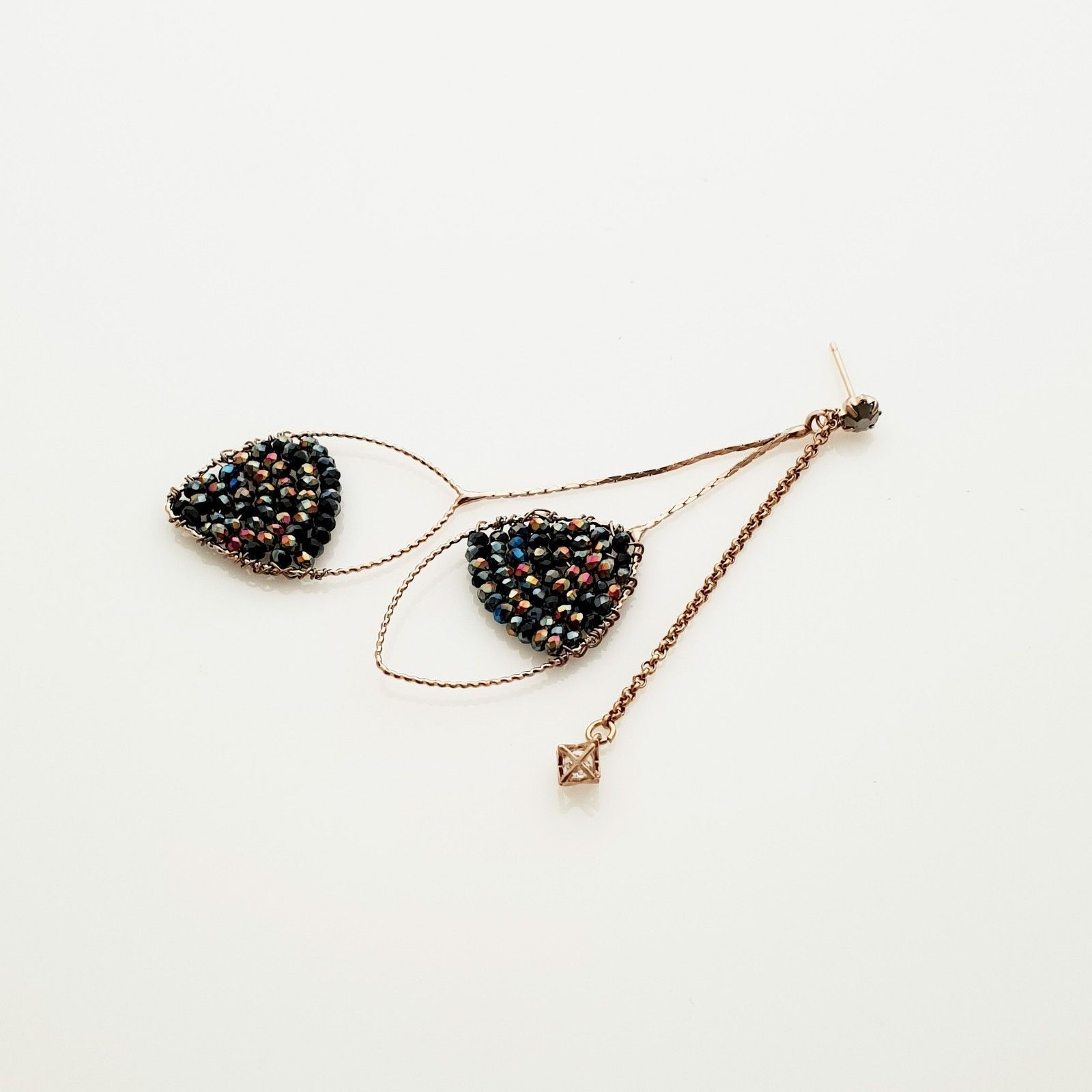 Handmade Oval Ellipse Made With Swarovski Stone Drop Dangle Earrings Brass E201 image 5
