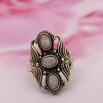 Shine Jewel Vintage 1.80 Ct Rainbow Moonstone 925 Silver Boho Handmade Ring - $21.52