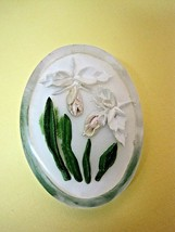 Vintage Reversed Carved Lucite White Iris or Orchid Brooch Pin  SHP - $19.80