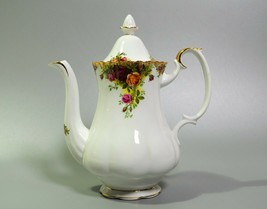 "Royal Albert Old Country Roses Coffee Pot Large 10"" with Lid English Bon... - $125.77"