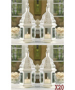 20 Creamy White Clear Glass Iron Wedding Candle Lantern Centerpieces Par... - $241.87