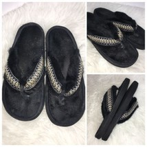 Isotoner Womens Size 9.5 - 10 Slippers Thongs Flip Flop Black - $13.55