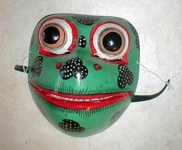 "Frog Mask Bali  Great for your Wall or your Face about 8"" Handmade wood ... - $24.74"