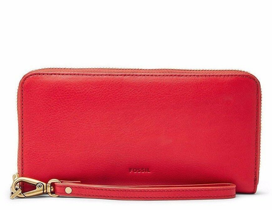 New Fossil Women's Emma RFID Large Leather Zip Clutch Variety Colors