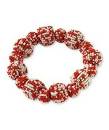 Bracelet Deep Orange White Seed Bead Baubles Stretch Style Coldwater Creek - $13.86