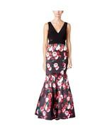 Xscape New Womens Black/Multi Printed Mesh Inset Cut Out Mermaid Dress  ... - $127.71