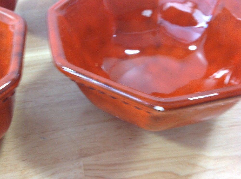 RARE Orange Mottled 4 Beaded Soup Bowls PV and 50 similar items