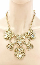 Golden Filigree Acrylic Rhinestones Bib Statement Casual Necklace Earrings Set  - $17.10