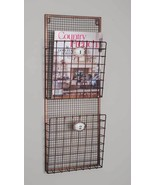 New Hanging Wire Wall Magazine File Rack Holder Pocket Vintage Organizer... - $45.49