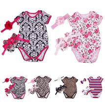 3Pcs Floral Newborn Baby Girl Romper Bodysuit Shoes Headband Set Outfit - $10.20