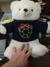 1997 CHRISTMAS BEAR with blue wreath sweater. - $10.99