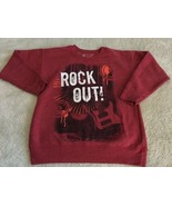 Hanes Ecosmart Boys Red White Rock Out! Guitar Long Sleeve Sweatshirt XS 6 - $6.43