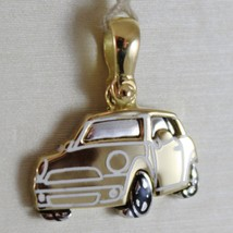 SOLID 18K WHITE & YELLOW MOTOR RACING CAR, CARS, SATIN PENDANT MADE IN ITALY image 1