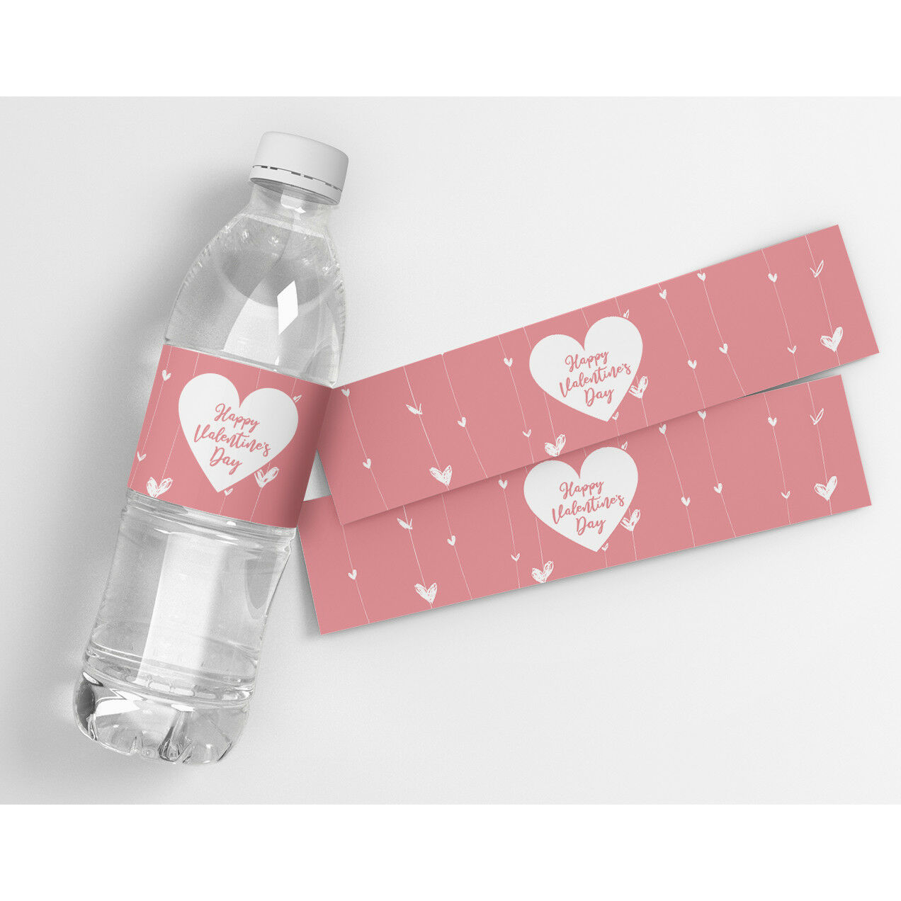 Valentine's Day Hanging Hearts Waterproof Party Water Bottle Labels