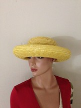 Vintage Arlin Yellow Rolled Brim Natural Straw Hat - $39.00