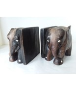 """Heavy Resin Carved Elephant Book Ends 5"""" x 5 1/4"""" - $35.63"""