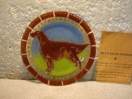 "1980 Silva Fused  IRISH SETTER Plate Studio Signed Art GLASS PAPERS 7 1/2"" - $32.50"