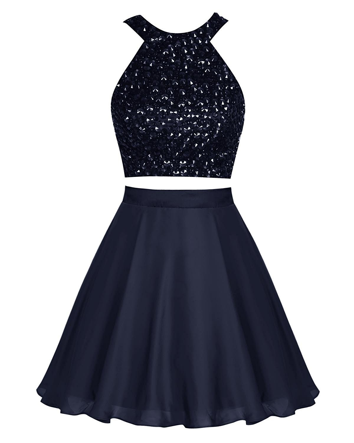 Primary image for Short Chiffon Halter Homecoming Dress Beading Prom Dress Party Dresses Navy 2018