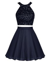 Short Chiffon Halter Homecoming Dress Beading Prom Dress Party Dresses N... - $128.00