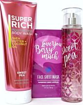 Bath and Body Works Sweet Pea Body Splash,10 oz. Body Wash & Face Mask Set - $27.27