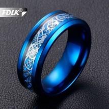FDLK  Blue Stainless Steel & Alloy Ring  Blue Carbon Fibre Men and Women... - $20.00