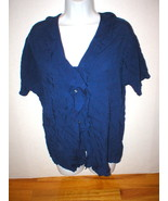 New Womens Express Top Dark Navy Blue XS Nice Work School Blouse SS Viscose - $26.55