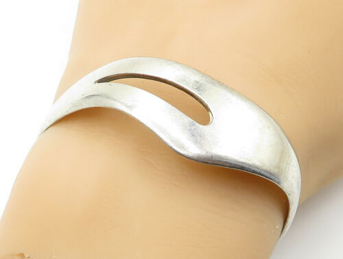 MEXICO 925 Silver - Vintage Shiny Smooth Cutout Detail Cuff Bracelet - B6172