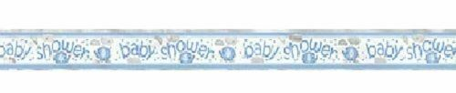 Umbrella Elephant Blue Boy Baby Shower Party Supplies Foil 12 ft Banner