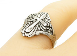 925 Sterling Silver - Vintage Etched Religious Cross Band Ring Sz 8 - R1... - $24.41