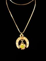 Vintage Irish Necklace - Lucky horseshoe - sweetheart shamrock - 14kt gold fille - $55.00